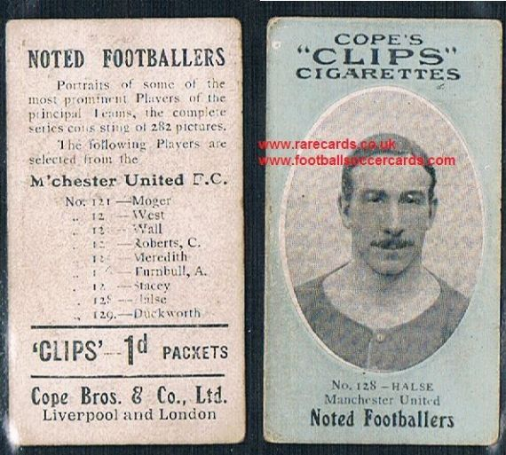 1909 Cope's Clips 2nd series Noted Footballers, 282 back, 128 Halse Man Utd